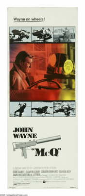 """McQ (Warner Brothers, 1974). Insert (14"""" X 36""""). John Wayne was offered the role of """"Dirty Harry,"""" b..."""
