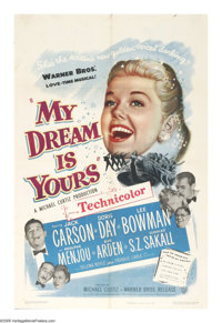 "My Dream Is Yours (Warner Brothers, 1949). One Sheet (27"" X 41""). Radio promoter Doug Blake (Jack Carson) disc..."