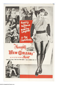 "Naughty New Orleans (Rebel Pictures, 1954). One Sheet (27"" X 41""). The girlfriend of a surprisingly prudish ga..."