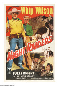 """Night Raiders (Monogram, 1952). One Sheet (27"""" X 41""""). Cowboy star Whip Wilson and saddle pal Tom Farrell are..."""