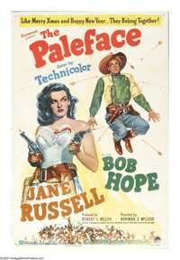 "The Paleface (Paramount, 1948). One Sheet (27"" X 41""). Bumbling Bob Hope and sexy sharpshooter Jane Russell sp..."