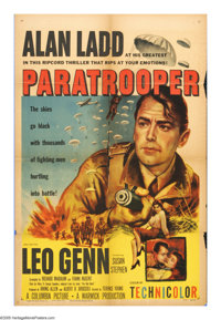 """Paratrooper (Columbia, 1953). One Sheet (27"""" X 41""""). After causing the needless death of another officer durin..."""
