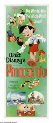 "Pinocchio (Buena Vista, R-1971). Insert (14"" X 36""). ""Always let your conscience be your guide."" Thi..."