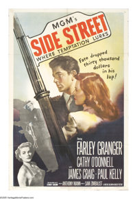 """Side Street (MGM, 1950). One Sheet (27"""" X 41""""). Anthony Mann directs this film noir drama about a man who is d..."""