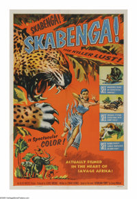 "Skabenga (Allied Artists, 1955). One Sheet (27"" X 41""). Michael Pate narrates this nature film that focuses on..."
