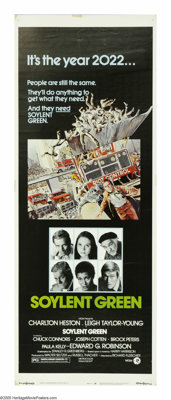 "Soylent Green (MGM, 1973). Insert (14"" X 36""). ""Soylent Green is people!"" Okay, spoiled it for ya, h..."