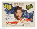 """Movie Posters:Drama, Strange Holiday (Elite Pictures, 1946). Half Sheet (22"""" X 28""""). Claude Rains stars as an everyday American who goes off alon..."""