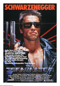 "The Terminator (Orion, 1984). One Sheet (27"" X 41""). ""That terminator is out there. It can't be bargained..."