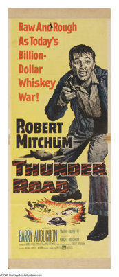 "Thunder Road (United Artists, 1958). Insert (14"" X 36""). A veteran (Robert Mitchum) comes home from the Korean..."