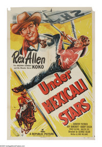 "Under Mexicali Stars (Republic, 1950). One Sheet (27"" X 41""). This Western stars Republic's singing cowboy, Re..."
