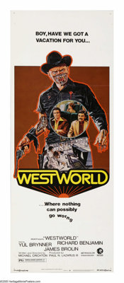 "Westworld (MGM, 1973). Insert (14"" X 36""). Yul Brynner, Richard Benjamin and James Brolin star in this science..."