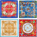"""Luxury Accessories:Accessories, Hermes Set of Four; 90cm Silk Scarves. Condition: 3. 36""""Width x 36"""" Length. 36"""" Width..."""