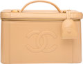 """Luxury Accessories:Bags, Chanel Beige Caviar Leather Cosmetics Case. Condition: 3.11"""" Width x 7"""" Height x 6.5"""" Depth. ..."""