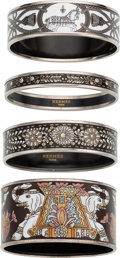"Luxury Accessories:Accessories, Hermes Set of Four; Black & White Enamel Bangle Bracelets.Condition: 1. 1"" Width x 2.75"" Diameter. 2"" Widthx 3"" ... (Total: 4 Items)"