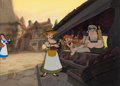 Animation Art:Painted cel background, Beauty and the Beast Belle Presentation Cel and ProductionBackground (Walt Disney, 1991). ...