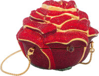 """Judith Leiber Full Bead Red Crystal Capsule Minaudiere Evening Bag Condition: 1 3.5"""" Width x 4"""" H"""