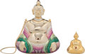 "Luxury Accessories:Bags, Judith Leiber Half Bead Green & Pink Crystal Buddha MinaudiereEvening Bag with Pill Box. Condition: 1. 5"" Width x 6""... (Total: 2 Items)"