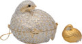 "Luxury Accessories:Bags, Judith Leiber Set of Two; Full Bead Silver Crystal GrouseMinaudiere Evening Bag & Pillbox. Condition: 2. 5""Width x 5... (Total: 2 Items)"