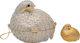 """Judith Leiber Set of Two; Full Bead Silver Crystal Grouse Minaudiere Evening Bag & Pillbox Condition: 2 5""""..."""