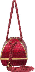 """Luxury Accessories:Bags, Judith Leiber Full Bead Red Crystal Minaudiere Evening Bag.Condition: 2. 3.5"""" Width x 4"""" Height x 3.5"""" Depth...."""