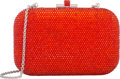 "Luxury Accessories:Bags, Judith Leiber Full Bead Orange Crystal Rectangle Minaudiere EveningBag. Condition: 2. 6"" Width x 4"" Height x 2"" Depth..."