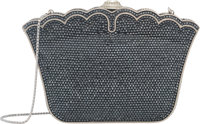 "Judith Leiber Full Bead Gray Crystal Lotus Minaudiere Evening Bag Condition: 2 6.5"" Width x 4"" He"