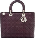 "Luxury Accessories:Bags, Christian Dior Purple Cannage Quilted Lambskin Leather Large LadyDior Bag. Condition: 2. 12.5"" Width x 10"" Height x4..."