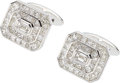 Estate Jewelry:Cufflinks, Diamond, White Gold Cuff Links. ...
