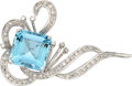 Estate Jewelry:Brooches - Pins, Aquamarine, Diamond, White Gold Brooch, H. Stern. ...