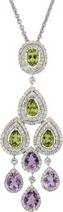 Estate Jewelry:Pendants and Lockets, Diamond, Peridot, Amethyst, White Gold Pendant-Necklace. ...