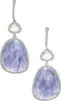 Estate Jewelry:Earrings, Tanzanite, Diamond, Sapphire, White Gold Earrings