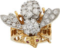 Estate Jewelry:Brooches - Pins, Diamond, Ruby, Gold Ring-Brooch. ...