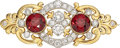 Estate Jewelry:Brooches - Pins, Victorian Garnet, Diamond, Platinum-Topped Gold Brooch. ...