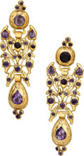 Estate Jewelry:Earrings, Antique Amethyst, Gold Earrings. ...