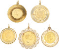Estate Jewelry:Pendants and Lockets, Gold Coin, Gold Pendants. ... (Total: 5 Items)