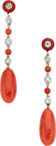 Estate Jewelry:Earrings, Coral, Diamond, Platinum Earrings. ...