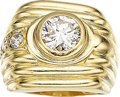 Estate Jewelry:Rings, Diamond, Gold Ring The ring features a round b...