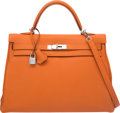 "Luxury Accessories:Bags, Hermes 35cm Orange H Togo Leather Retourne Kelly Bag with PalladiumHardware. L Square, 2008. Condition: 3. 14""Wi..."