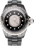 "Luxury Accessories:Accessories, Chanel 38mm Diamond & Black Ceramic J12 Watch. Condition:2. 1.5"" Width x 6"" Circumference. ..."
