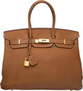 """Luxury Accessories:Bags, Hermes 35cm Gold Togo Birkin Bag with Gold Hardware. M Square,2009. Condition: 3. 14"""" Width x 10"""" Height x 7""""Dep..."""