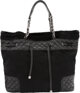 """Chanel Black Leather and Ponyhair Shopping Tote with Drawstring Condition: 3 13.5"""" Width x 12"""" Height x 5&quot..."""