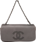 """Luxury Accessories:Bags, Chanel Gray Lambskin Leather Single Flap Bag with Studs.Condition: 3. Width 12"""" Height 6"""" Depth 3"""". ..."""