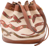 Hermes Customized Fauve Barenia Leather & Toile Canvas Market Bag with Gold Hardware B Square, 1998; Artwork 20
