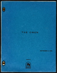 "The Omen (20th Century Fox, 1975). Script (Multiple Pages, 8.5"" X 11"") & Program (6.5"" X 8.5"")..."