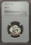 Washington Quarters, 1940-D 25C MS67 NGC. NGC Census: (41/1). PCGS Population: (54/0).CDN: $700 Whsle. Bid for problem-free NGC/PCGS MS67. Mint...