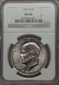 Eisenhower Dollars, 1971-D $1 MS66 NGC, and a 1977-D $1 MS66 NGC.... (Total: 2 coins)