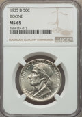 Commemorative Silver, 1935-D 50C Boone MS65 NGC. NGC Census: (260/93). PCGS Population: (348/131). CDN: $170 Whsle. Bid for problem-free NGC/PCGS...