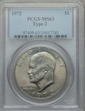 Eisenhower Dollars, 1972 $1 Type Two MS63 PCGS. PCGS Population: (647/696). NGC Census: (172/230). ...