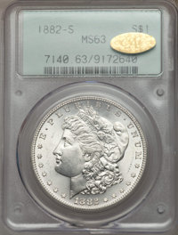 1882-S $1 MS63 PCGS. Gold CAC. PCGS Population: (19948/58254). NGC Census: (15133/59753). CDN: $58 Whsle. Bid for proble...