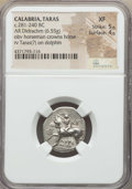Ancients:Greek, Ancients: CALABRIA. Tarentum. Ca. 272-240 BC. AR stater or didrachm(6.55 gm). NGC XF 5/5 - 4/5. ...